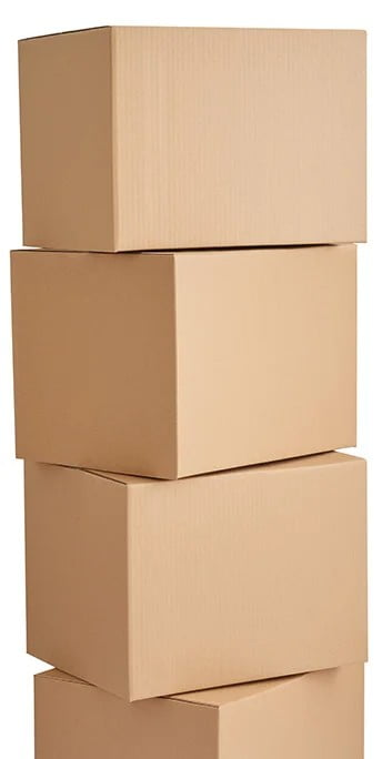 4 stacked moving boxes