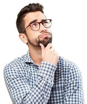 man contemplating box quantities