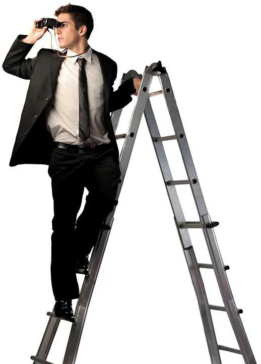 man with binoculars on a ladder