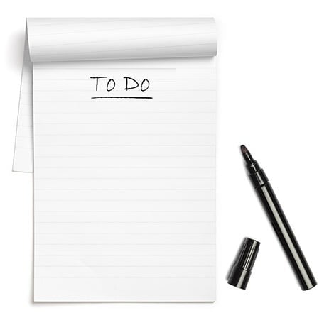 pad of paper to do list