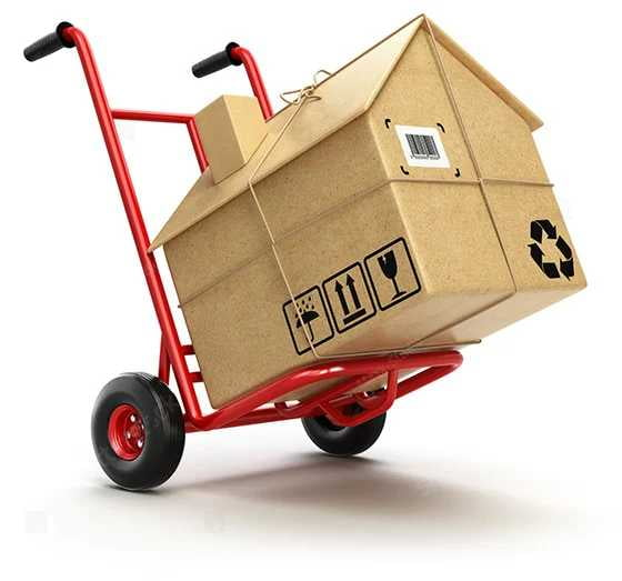 trolley transporting packing boxes for moving house